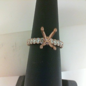 Rose 14 Karat Ring Size 6 With 0.46Tw Round Diamonds  Name RENAISSANCE  Center Size .90  Serial # 583295  SO ARENA