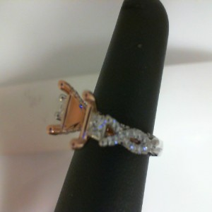 Platinum &  20kt Rose Mounting With 0.90Tw Round Diamonds  Name COUTURE  Center Size 6.5X.6.5 HEAD  Serial # 583098  SO JACQUES