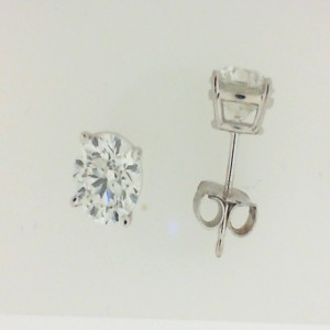 White 14 Karat Stud Earrings With 2=5.01Tw Round J/K Si2-3 Diamonds