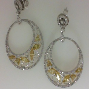 Two-Tone 14 Karat Dangle Earrings With 12=1.43Tw Various Shapes Yellow Diamonds And 304=1.33Tw Round Diamonds Serial #: 482298