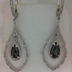 White 14 Karat Dangle Earrings With 179=0.85Tw Round Diamonds And 2=1.89Tw Pear Black Diamonds Serial #: 512477