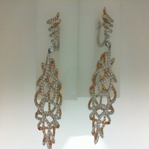 White/Rose 18 Karat Dangle Earrings With 560=3.75Tw Round Diamonds Serial #: 515337