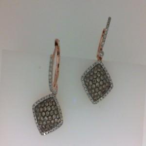 Lady'S Rose 18 Karat Earrings With 84=0.57Tw Round Brown Diamonds And 94=0.28Tw Round Diamonds
