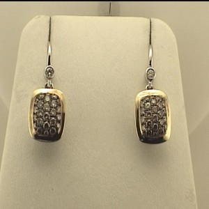 Two-Tone Sterling Silver 14Kw & 18Ky Dangle Earrings With 48=1.20Tw Round Brown Diamonds And 2=0.06Tw Round Diamonds