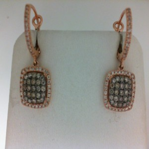 Lady'S Rose 14 Karat Dangle Earrings With 50=0.53Tw Round Brown Diamonds And 80=0.32Tw Round Diamonds Serial #: 583041