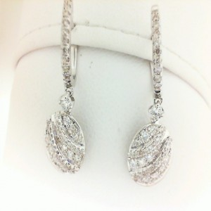 White 18 Karat Earrings With 84=0.57Tw Round Diamonds