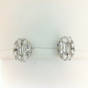 Lady'S White 14 Karat Earrings With 4=0.25Tw Baguette Diamonds And 24=0.70Tw Round Diamonds