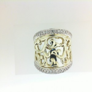 Sterling Silver & 18Ky Earrings With 50=0.50Tw Round K/L Si3-I1 Diamonds Style Name: IVY LACE SMALL SADDLE RING