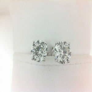 White 14 Karat Earrings With 2=1.81Tw Round Diamonds