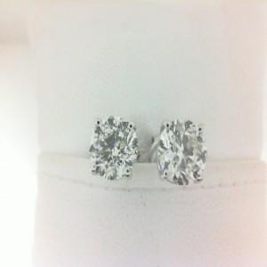 White 14 Karat Earrings With 2=1.81Tw Round Diamonds