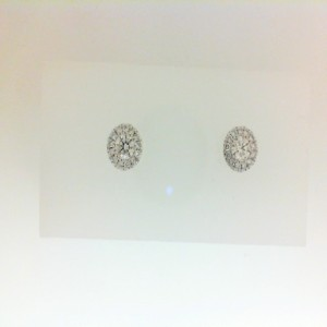 White 14 Karat Stud Earrings With 2=0.29Tw Round Diamonds And 26=0.13Tw Round Diamonds Style Name: Halo Earrings