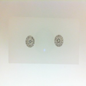 White 14 Karat Stud Earrings With 2=0.39Tw Round Diamonds And 26=0.13Tw Round Diamonds Style Name: Halo Earrings