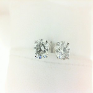 White 14 Karat Earrings With 2=1.50Tw Round I I1 Diamonds