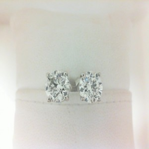 White 14 Karat Earrings With 2=3.02Tw Round I/J Si2-I1 Diamonds