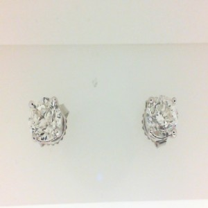 White 14 Karat Earrings With 2=2.05Tw Round L/M Si1-2 Diamonds