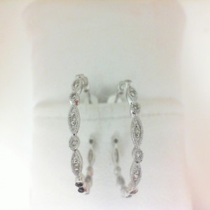 White 14 Karat Hoop Earrings With 16=0.08Tw Round Diamonds