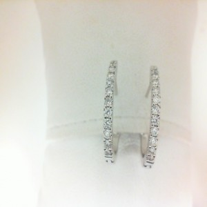 White 14 Karat Hoop Earrings With Secure Locks 24=0.47Tw Round Diamonds