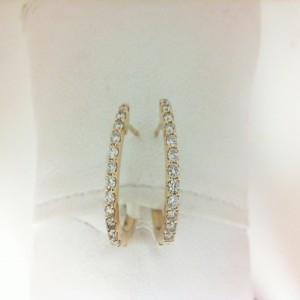 Yellow 14 Karat Hoop Earrings With Secure Locks 24=0.45Tw Round Diamonds