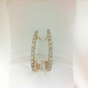 Yellow 14 Karat Hoop Earrings With Secure Locks 24=0.45Tw Round Diamonds