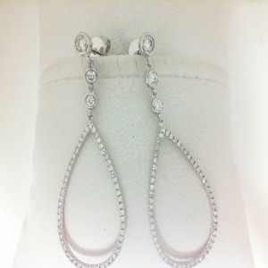White 14 Karat Dangle Earrings With 116=0.51Tw Round Diamonds