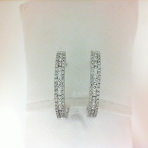 White 14 Karat Hoop Earrings With .46 Tw Round Diamonds