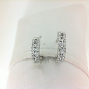 White 14 Karat Earrings With 66=0.40Tw Round Diamonds