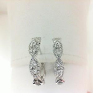 White 14 Karat Earrings With 79=0.48Tw Round Diamonds