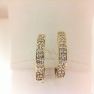 Yellow 14 Karat Earrings With 56=0.30Tw Round Diamonds