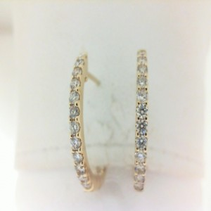 Yellow 14 Karat Inside/Outside Secure Hoop Earrings With .67Tw Round Diamonds