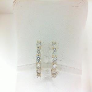 Yellow 14 Karat Secure Hoop Earrings With 12=.97Tw Round Diamonds