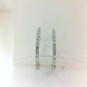 White 14 Karat Earrings With 28=0.18Tw Round Single Cut Diamonds