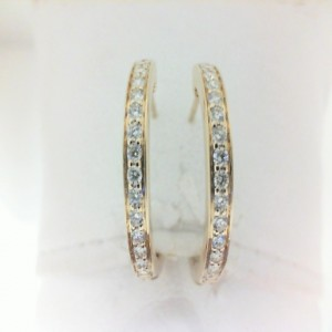 Yellow 14 Karat Medium Secure Hoop Earrings With 30=0.38Tw Round Diamonds