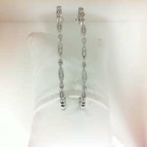 White 14 Karat Earrings With 28=0.15Tw Round Diamonds
