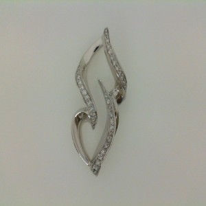 14 Karat White Gold Diamond Pave Slide .54 Carat Tw
