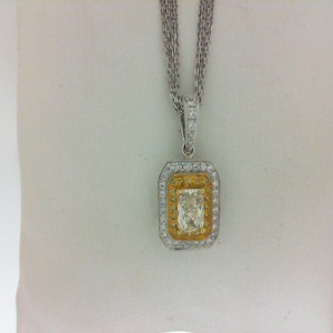 18 Karat Two Tone Radiant Cut Yellow/White Diamond Pendant With Multi Chain