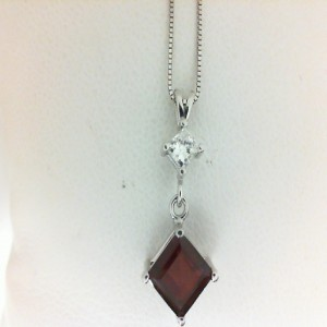 White 14 Karat Pendant With 0.20Tw Princess Diamond And One 6.00X6.00Mm Princess Garnet