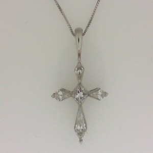 18 Karat White Gold 0.75Cttw Diamond Kite-Cut Cross Pendant - 14 Karat White Gold 18 Inch Box Chain