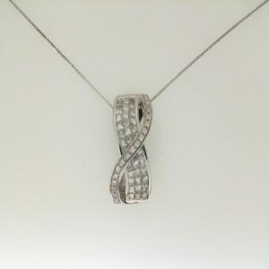 18Kw 1.38Ctw Diamond Slide W/ 14Kw Chain