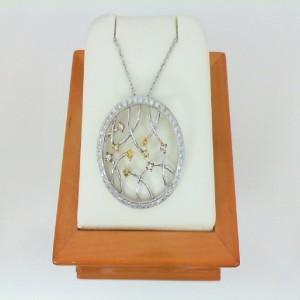 18 Karat White Gold Natural White Pink And Yellow Diamond Pendant W/Chain