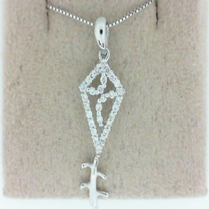 White 14 Karat Pendant With 0.18Tw Round Diamonds Name: Kite Pendant Chain: Box Metal: 14 Karat Color: White Length: 18