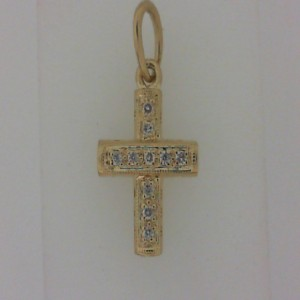 Yellow 14 Karat Cross Pendant With 0.05Tw Round Diamonds