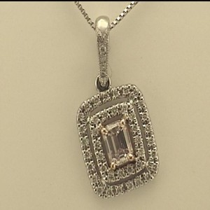 White/Rose 14 Karat Pendant With One 0.17Ct Emerald Pink Diamond And 44=0.15Tw Round Diamonds Serial #: 23529 Chain: Box Metal: 14 Karat Color: White Length: 18