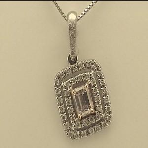 White/Rose 14 Karat Pendant With One 0.17Ct Emerald Pink Diamond And 44=0.15Tw Round Diamonds Serial #: 23529 Chain: Box Metal: 14 Karat Color: White Length: 18