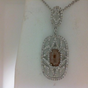 White 14 Karat Pendant With 157=1.12Tw Round Diamonds And One 1.60Ct Rose Cut Diamond
