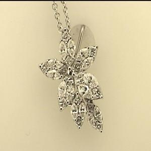 White 18 Karat Pendant With 0.61Tw Marquise H/I Vs1-2 Diamonds And 0.34Tw Princess H/I Vs1-2 Diamonds Chain: Cable Link Metal: 18 Karat Color: White Length: 16