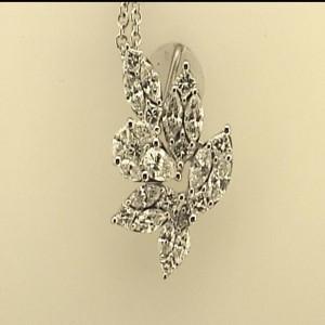 White 18 Karat Pendant 0.61Tw Marquise Diamonds 0.10Tw Pear Diamonds 0.31Tw Princess Diamonds Chain: Cable Link Metal: 18 Karat Color: White Length: 18
