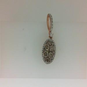 Rose 14 Karat Pendant With 15=0.56Tw Round Brown Diamonds And 39=0.14Tw Round Diamonds Chain: Box Metal: 14 Karat Color: White Length: 16