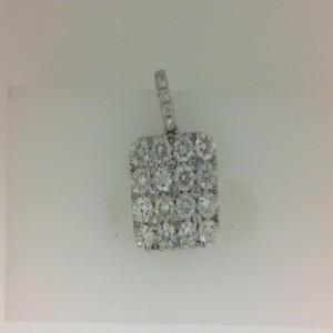 White 14 Karat Pendant With 43=1.87Tw Round Diamonds Chain: Wheat Metal: 14 Karat Color: White Length: 18