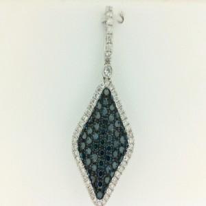 White 18 Karat Pendant With 60=0.77Tw Round Blue Diamonds And 53=0.21Tw Round Diamonds Chain: Box Metal: 14 Karat Color: White Length: 18