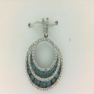 White 18 Karat Circle Pendant With 20=0.69Tw Round Blue Diamonds And 106=0.40Tw Round Diamonds Name: Special Price Chain: Box Metal: 14 Karat Color: White Length: 18